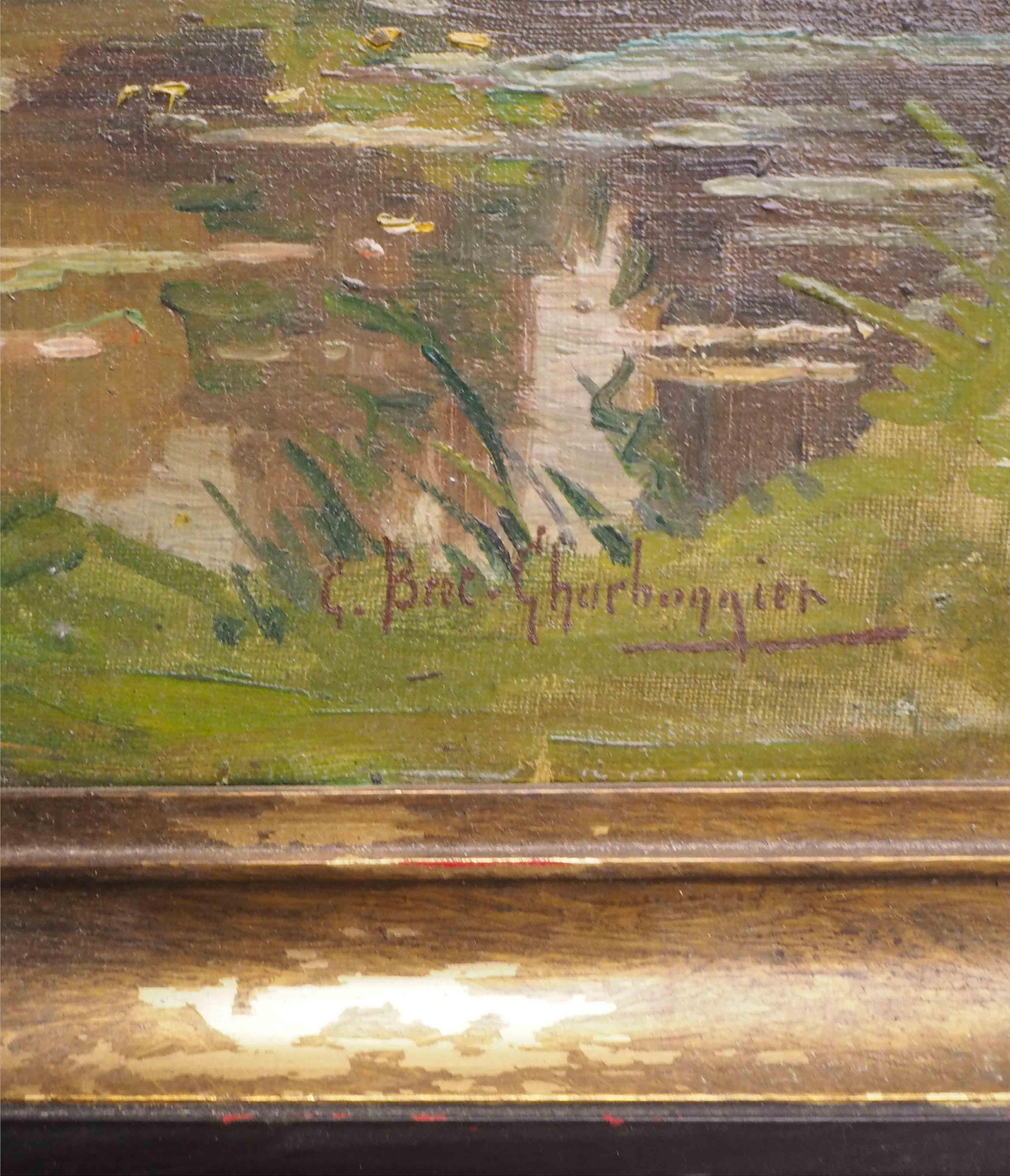 Prix D Un Tableau D Artiste détails sur tableau paysage bord d'étang g. bret-charbonnier (vers 1900/20)  + cadre